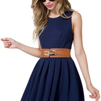 Ribbon Knit Flare Dress