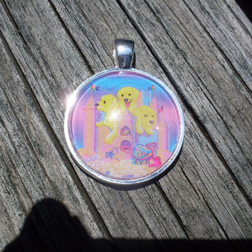 Lisa Frank SANDCASTLE PUPPIES Golden Retreiver Vintage Sticker Circle Pendant Charm Necklace