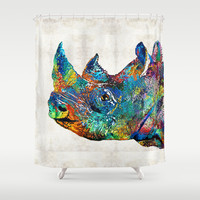 Rhino Rhinoceros Art - Looking Up - By Sharon Cummings Shower Curtain by Sharon Cummings