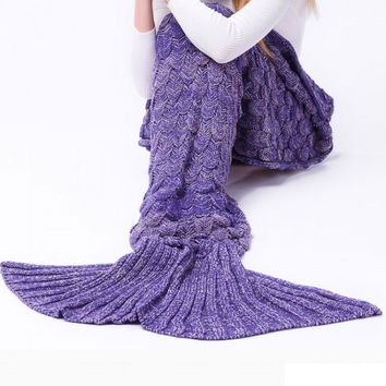 Soft Fish Scales Blanket For Adults Knitted Mermaid Tail Blanket