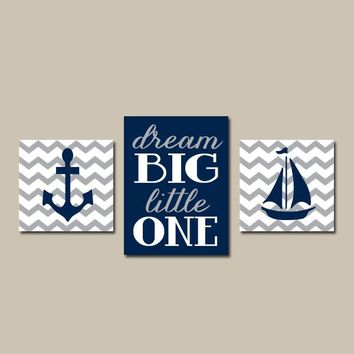 Anchor Sailboat Wall Art, Nautical Nursery Decor, Canvas or Prints, Navy Gray Chevron, Boy Nautical Bedroom, Dream Big Quote Set of 3