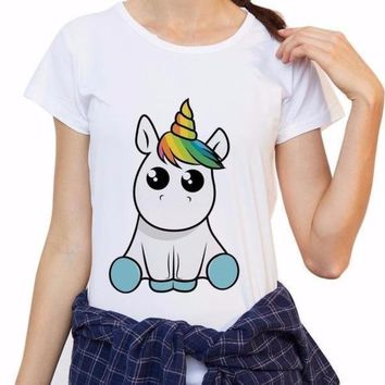 Super Funny Rainbow Horn Unicorn Short Sleeve T-Shirt Top