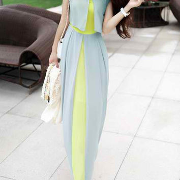 High Waistline Stitching Chiffon Maxi Dress