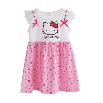 Fashion Girls Dresses Summer Cartoon Cat Toddler Girls Dress Hello Kitty Printed Kids Clothes Pink Color Girls Clothing T6130