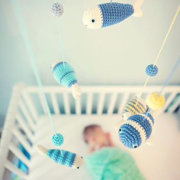 Baby Mobile, Nursery Mobile, Nursery Decor, Fish Decor, Blue, Sea Animals by Cherrytime