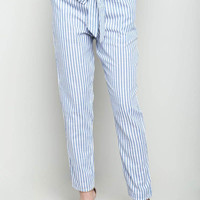 Striped Bow Pants Blue