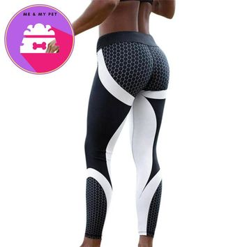 Womens 3D Printed honeycomb Skinny Workout Leggings Cropped Pants fitness high waist leggings Black legging for women