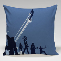 marvel superhero the avengers silhouette Square Pillow Case Custom Zippered Pillow Case one side and two side