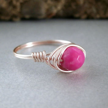 Pink Candy Jade Ring Rose Gold Wire Wrapped Ring Handmade Dainty Jewelry Silver Plated Rose Gold Color Little Pink Ring Candy Jade Jewelry