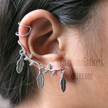 Silver Tree Branch Leaf Ear Cuff Earring