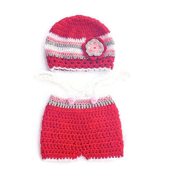 Christmas Newborn Girl Photo Set, Baby Floral Outfit, Infant Crochet Shorts Hat Holiday Clothing, Baby Winter Wear, Small Kids Gift