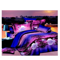 3D Animal Tiger Lion Wolf Queen King Size Bed Quilt/Duvet Sheet Cover 4PC Set Cotton Sanded