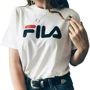 FILA Fashion Casual Cotton Short Sleeve Shirt Top Tee
