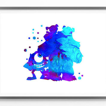 Monsters Inc Watercolor Print Disney Movie Poster Watercolor, Wall art, Nursery art, Horizontal Fine Art Poster, Watercolor Illustration