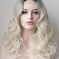 Middle Blonde White Wave Synthetic Lace Front Wig
