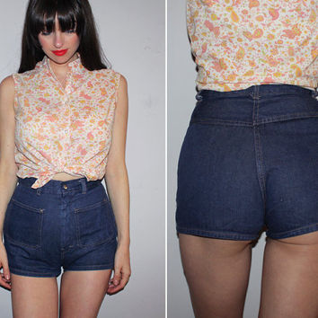 RARE Vintage 70s HIGH WAISTED Denim Shorts / Hot Pants / Super Short Jean Shorts / Cheeky, Daisy Dukes / Med Wash / Groovy, Disco / Small