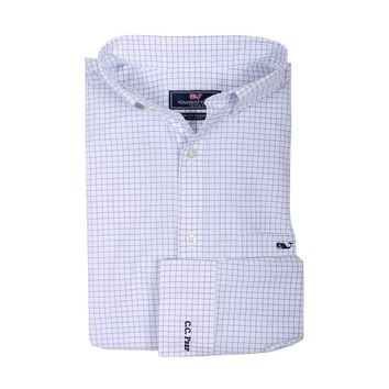 Custom Navy Beach Check Classic Tucker Shirt in Regatta Blue by Vineyard Vines