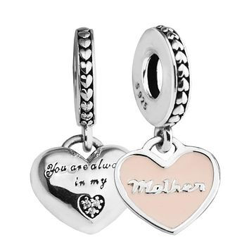 Mother & Daughter Hearts Pendant 925 Sterling Silver Charm,Soft Pink Enamel & Clear CZ Fine Jewelry Fit Bracelets& Necklace Diy