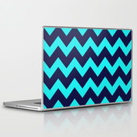 Chevron Navy Turquoise Laptop & iPad Skin by Beautiful Homes