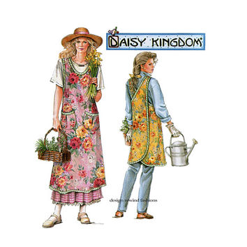 1990s DAISY KINGDOM APRON Pattern Back Wrap Apron Gardening Pinafore Apron Simplicity 7481 Size Sm Med Lrg Xl UNCuT Womens Sewing Patterns