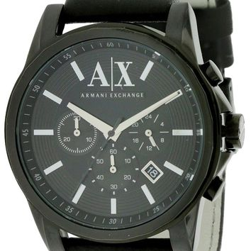Armani Exchange Black Leather Chronograph Watch AX2098