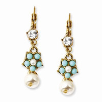 Gold-tone Glass Pearls Teal Beads Crystal Leverback Earrings