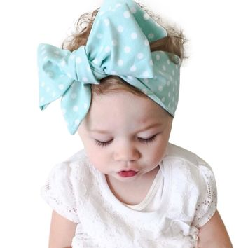 Hot sale baby girl headband big wide Wave Spot Baby Girls Headband Elastics For Newborns Elastic Head Band for girl hair bows