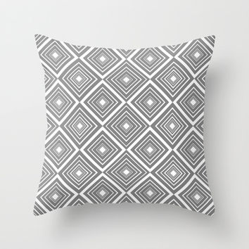 Diamond Pattern Grey and White Throw Pillow by Cute to Boot
