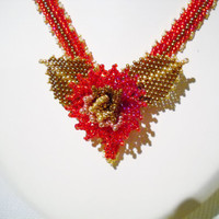 Mothers day gift, necklace with handmade flower in red, golden brown and goldcolour, beadwoven flower, red necklace, flower jewelry