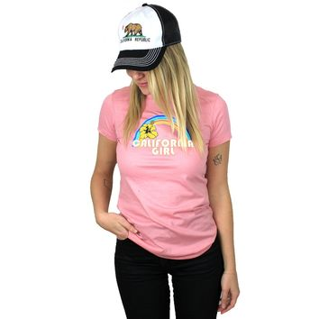 California Girl Rainbow Hibiscus Ladies Lightweight Fitted T-Shirt