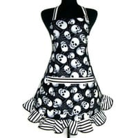 Skull Apron , Black and White Goth Kitchen Decor , Glow in the Dark with Stripe Ruffle