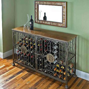 84- Bottle Antiqued Steel Wine Jail Console - Wine Enthusiast