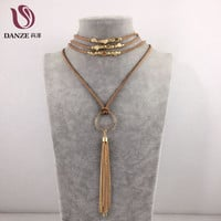 DANZE Fashion Boho Women's Leather Chain Multilayer Long Necklace Gothic Feather Pendant Tassel Necklace Women Collier Jewelry