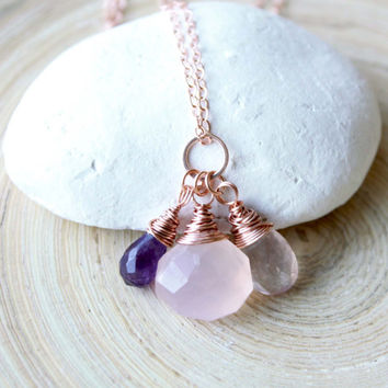 Rose gold necklace. Trio briolettes wire wrapped in rose gold. Healing stones necklace. Gemstones briolettes in rose gold. Anniversary gift
