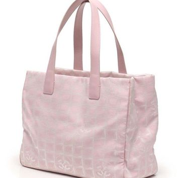 Chanel New Travel Line Tote Bag MM A15991 Pink Canvas Leather Women''s