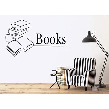 Vinyl Decal Books Library Bookstore Bookworm School Wall Stickers Unique Gift (ig2644)
