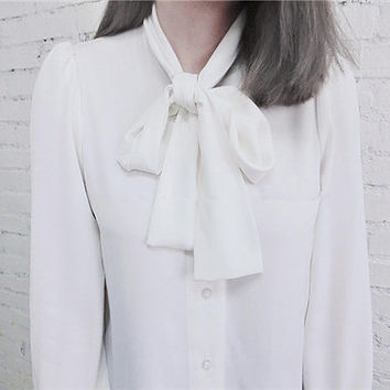 Shop Cream Long Sleeve Blouse on Wanelo