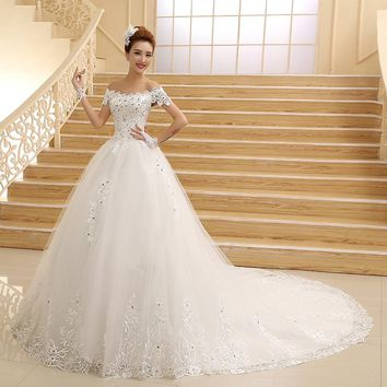 New Bridal Gown Princess White Lace Beading Crystal Boat Neck Royal Train Cheap Wedding Dresses Plus Size