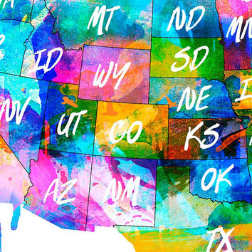 USA - us map - usa map - United States - watercolor Decal - Map of the USA - Large Decal - United States Map - Wall Sticker - SKU:USMap