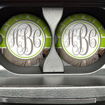 Personalized Monogrammed Car Coasters Green Quatrefoil Buck Deer Head Camo , Cup Holder Coaster, Custom Monogram Gift, Sandstone Coaster