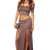 Brown Off Shoulder Double Slit Maxi Dress Set