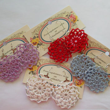 Summer Crochet Lace Hoop Earrings, Different Colors Available -Red, Blue, Purple, White, Flower Hoops, Doily Earrings, knit hoops, gift idea