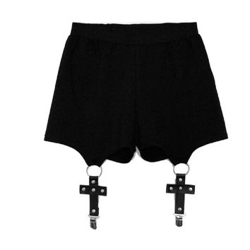 Punk Women Shorts Sexy Cross Ring Shorts