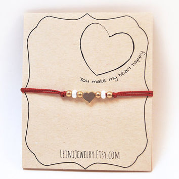 Heart bracelet, love bracelet, red bracelet with heart charm, gift for her