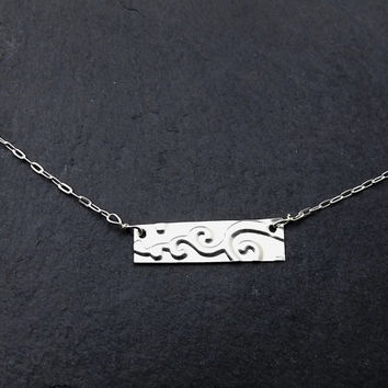 Spiral Cloud, Silver Bar Necklace, Rectangle Necklace, Name Plate Necklace, Sterling Silver