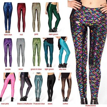 Summer Style New Fashion Trousers Digital Print Women Mermaid Fish Scale Leggings 88 JL