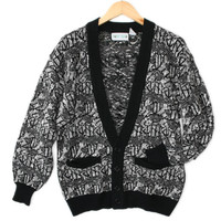 Vintage 80s Black & White Cosby Cardigan Ugly Sweater