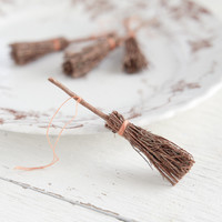 Miniature Brooms - 4 Natural Wooden Brooms