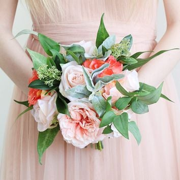 "Silk Rose Bouquet in Blush & Coral - 11"" Tall"