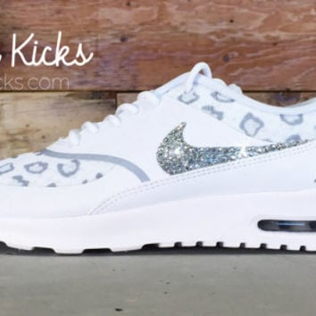 on sale 66863 04b50 Blinged Out Nike Air Max Thea Running Shoes - Blinged Out With Swarovski  Elements Crystal Rhinestones - White/Cheetah - Bling Nike Shoes